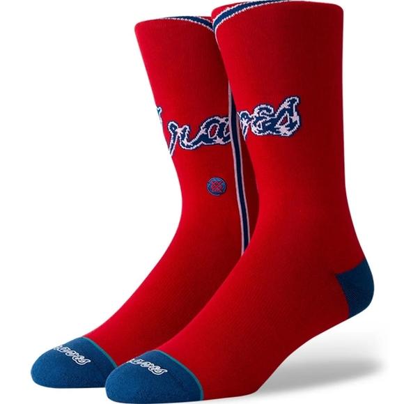 NWT Men's Atlanta Braves Stance Socks
